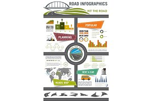 Road travel and car trip infographic design