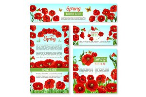 Welcome Spring banner template with flowers