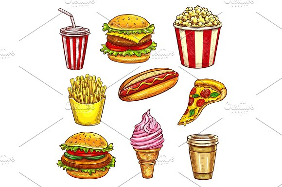 Fast Food Lunch Takeaway Dishes Isolated Sketch