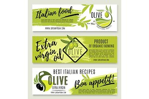 Olive oil banner template set with green branch