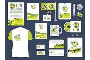 Corporate identity template with green olive twig