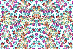 Colorful Floral Collage Pattern Mosaic