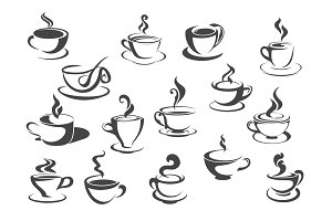 Coffee cup and tea mug isolated icon set