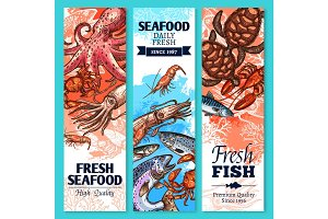 Fresh fish and seafood sketch banner set