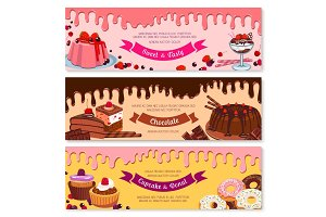 Cake dessert and ice cream banner set design