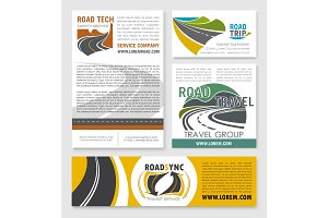 Road trip, car travel banner template set design