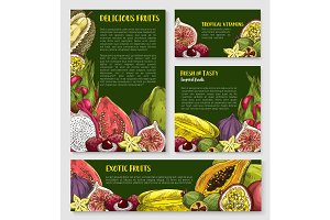 Exotic tropical fruit banner, poster template set