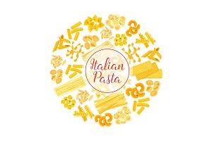 Italian pasta, spaghetti, macaroni round poster
