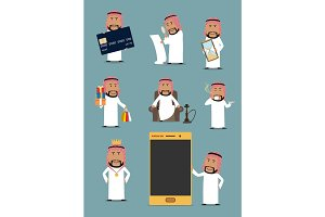 Rich arab businessman cartoon character set