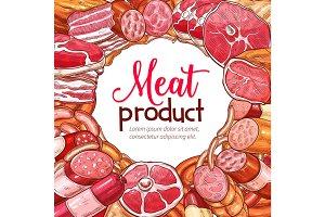 Meat product and sausage sketch poster
