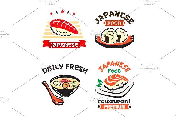 Japanese Food Symbol Set For Sushi Bar Design