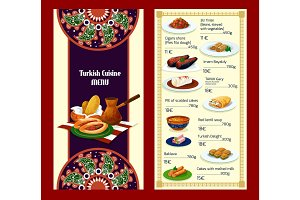 Turkish cuisine menu with delights and meat dishes
