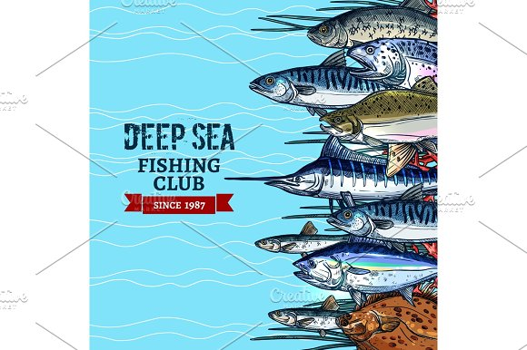 Sea Fishing Club Poster Design With Fish Sketches Illustrations Creative Market