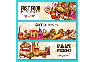Fast food restaurant sketch banner set design