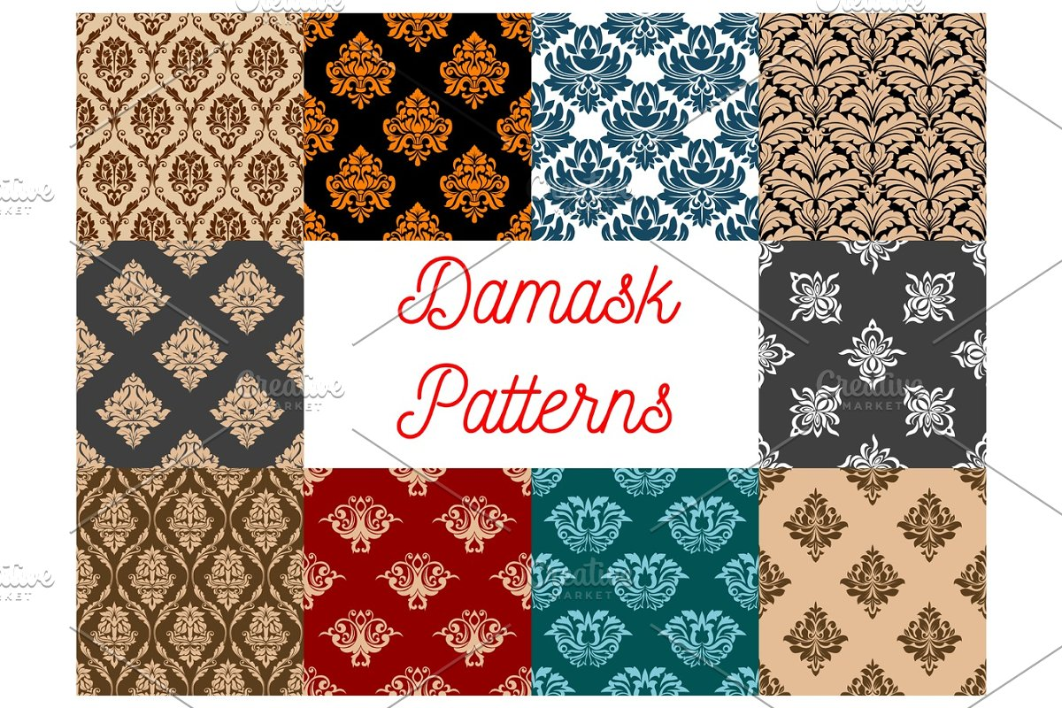 Damask Seamless Floral Pattern Background Custom Designed
