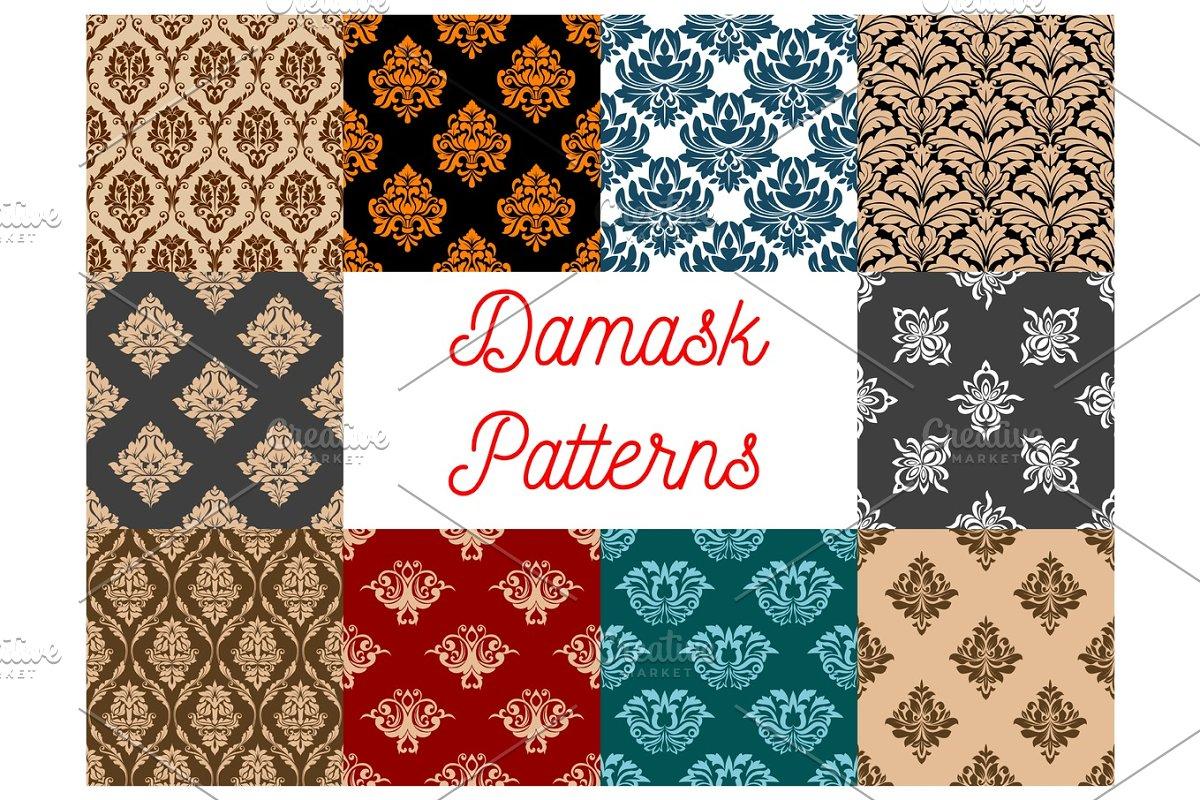 Damask Seamless Floral Pattern Background Custom Designed
