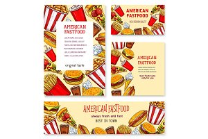 Fast food american restaurant banner template set