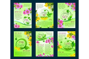 Spring season sale poster, discount flyer template