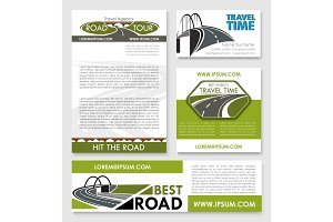 Road trip poster, car travel banner template set