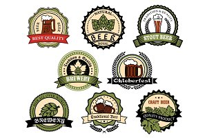Craft beer, ale, lager alcohol drinks label set