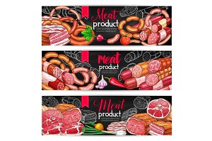 Meat and sausage menu blackboard banner set
