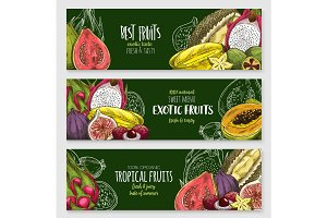 Exotic tropical fruit blackboard banner set