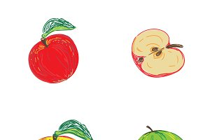 apples in sketch style, vector
