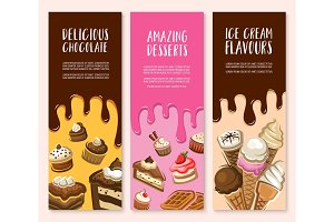 Dessert, ice cream and chocolate pastry banner set
