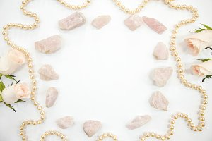Rose Quartz with Peach Pearls