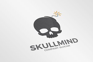 Skull and bomb logo combination