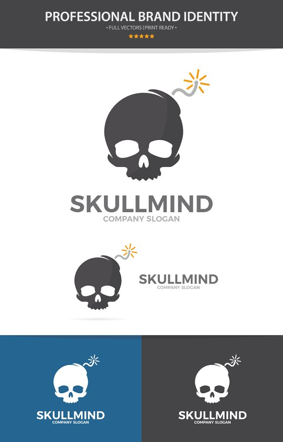 Skull and bomb logo combination in Logo Templates - product preview 2