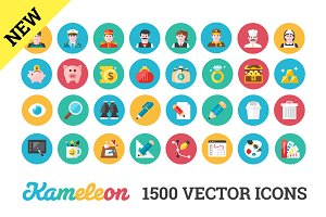 1500 Flat Icons. Unlimited Colors.
