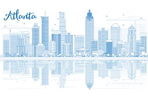 Outline Atlanta Skyline