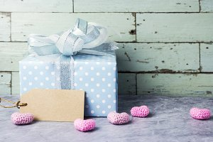 Cute gift box with pink heart
