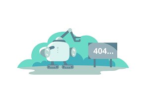 Moonwalker stopped opposite the sign 404 error. cute Illustration for error page 404 not found