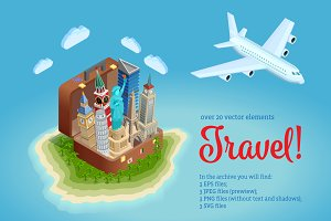 Travel Isometric Set