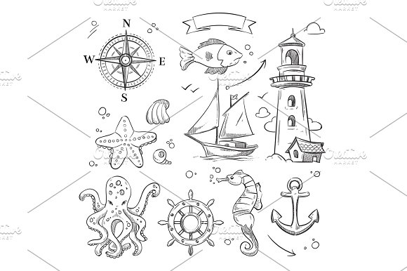 Hand Drawn Sea Marine Objects And Ocean Animals Vector Set