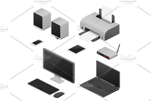 Digital Workstation Isometric Vector Computers Supplies Of Office Workspace