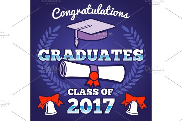 Students Congratulating Graduation Vector Background Graduates Ceremony Poster Campus Background