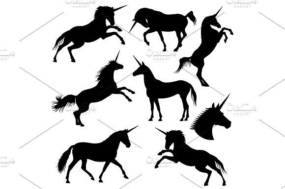 Mythical Rebellious Unicorn Vector Black Silhouettes