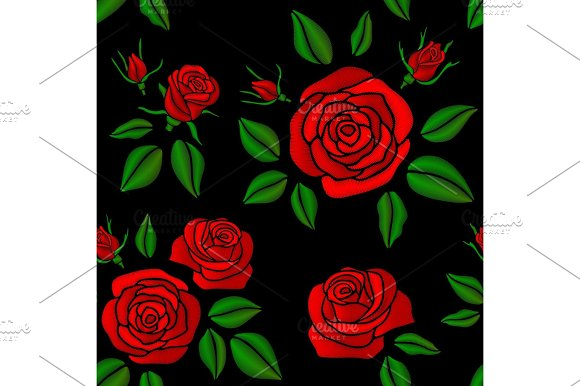 Embroidered Red Rose Flowers Vector Vintage Seamless Floral Pattern For Fashion Design