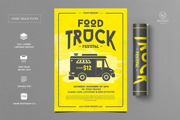 Food Truck Flyer Flyer Templates Creative Market - Food truck flyer template
