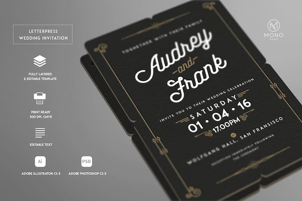 Letterpress Wedding Invitation Psd Template Free Download