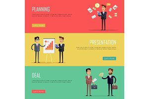 Set of Business Concept Web Banners Illustrations.