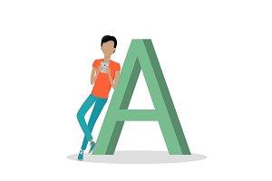 Gadget Alphabet. Letter - A