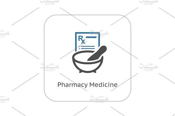 Pharmacy Medicine Icon Flat Design
