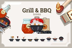 Grill & BBQ icons set (3 variants)