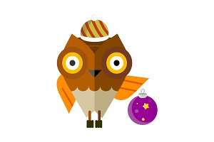 Owl with Christmas Ball Isolated. Cartoon Bird