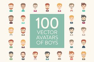 100 Boys Vector Avatars