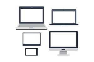PC Devices Set. Collection of Realistic Monitors